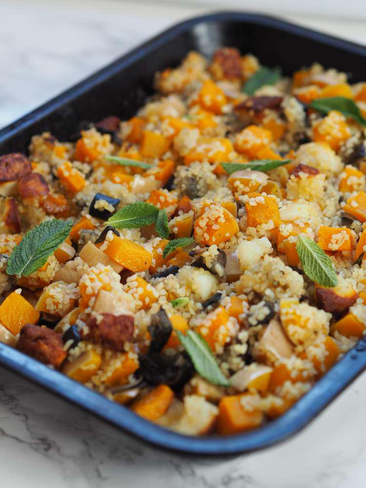 Vegetarian Roasted Aubergine Butterneut Squash Recipe
